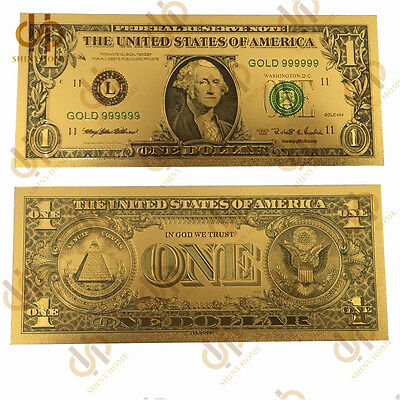 10PCS/Lot American $1 Gold Banknote US Uncirculated Note Collect Currency Bill