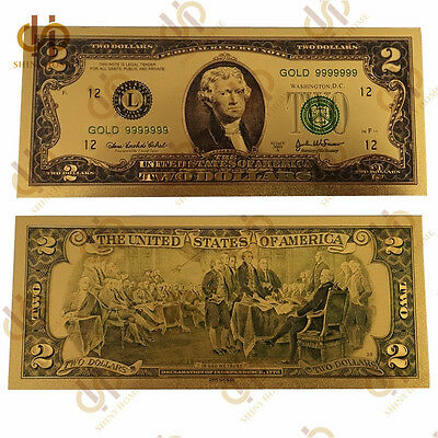 Colored US $2 Dollar 24k Gold Plated Banknote Bill Currency Money Collection