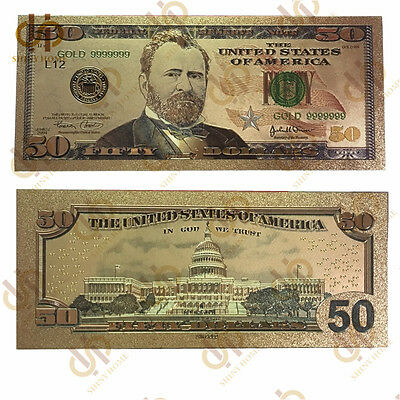 10PCS/lot Gold Foil Color American 50 Dollar Currency Gold Denomination Banknote