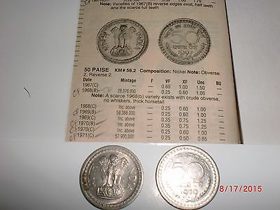 """- Republic Of  India - One Old  """" Fifty  Paise """" Coin - Rare - 1970 - Nickel"""