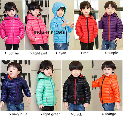 Kids Ultra Light Down Jacket Boys & Girls Removable Hooded Water Repellency