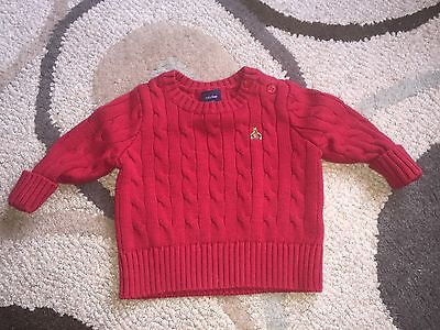 Baby Gap Boy 3-6 Months Red Cable Knit Sweater Crew Neck Button Shoulder EUC