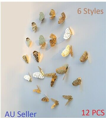 GOLD/SILVER 3D DIY Wall Sticker Butterfly Home Room Decor Decorations 12 pcs Set