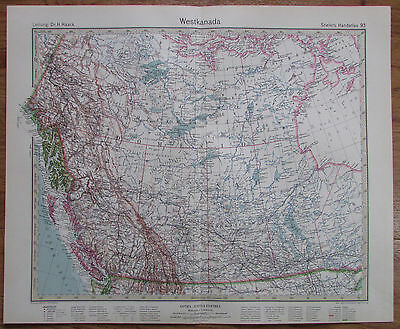 1926 WESTKANADA West Canada Kupferstich Alte Landkarte Karte Antique Map