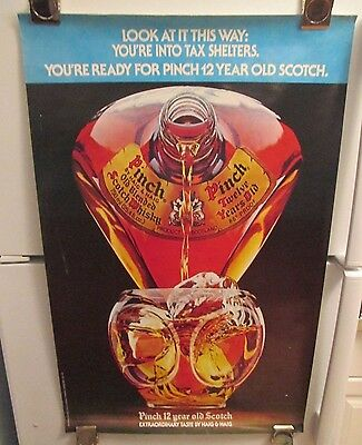 Vintage 70s Haig & Haig Pinch Twelve (12) Year Old Scotch Poster- Color Variant