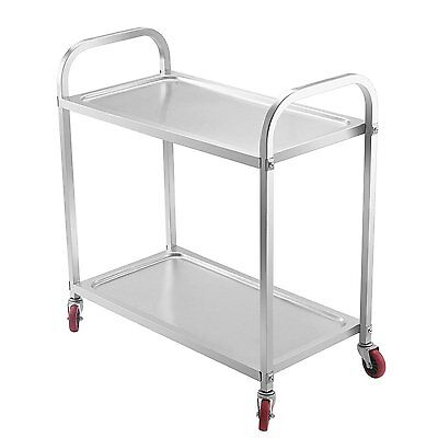Happybuy Utility Cart 2 Shelf Utility Cart on Wheels 220Lbs Stainless Steel Cart