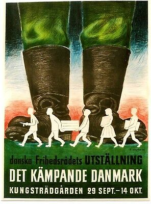 Original vintage poster NAZI BOOTS ON FIGHTING DENMARK WWII 1945