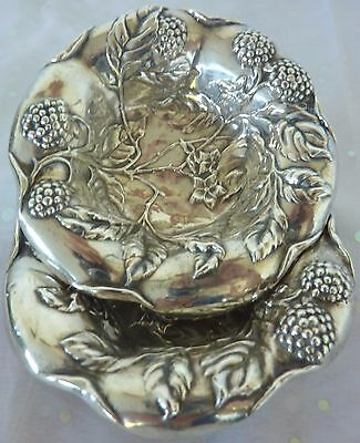 Pair Antique Sterling Trinket Pin Dish Silver Repousse Berries Leaves 40 Grams