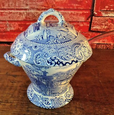 "Antique Midwinter Canterbury""Landscape""Covered Bowl Tureen Staffordshire Blue"