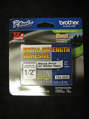 Brother P-Touch TZe-S231 Label Tape extra strength adhesiuve TZES231 TZ-231 OEM