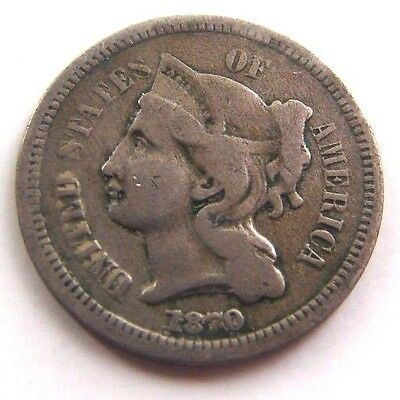 1870 3C  Three Cent Nickel Very Good Condition Free Shipping