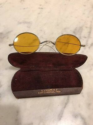 Antique Silver Tone Wire Rim Oval Amber Lens Glasses With Case