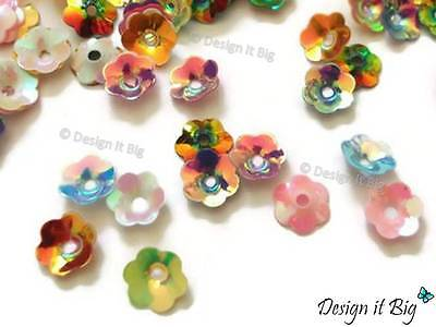 20g Flower Cupped Sequins Multi-Coloured Cup Metallic Rainbow Style 6mm / 8mm