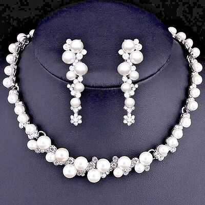 Elegant Bridal Wedding Pearl+Crystal Jewelry Set Silver Necklace and Earrings