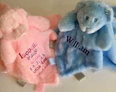 Personalised Baby Comforters, Embroidered Baby Teddy, Taggies Baby Comforters