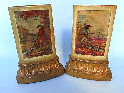 Vintage Borghese Plaster Chalkware Bookends, Grouse & Pheasant Hunting Scenes