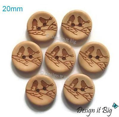 Birds on Branch Natural Wooden Round Craft Sewing Buttons 20mm with 2 Holes
