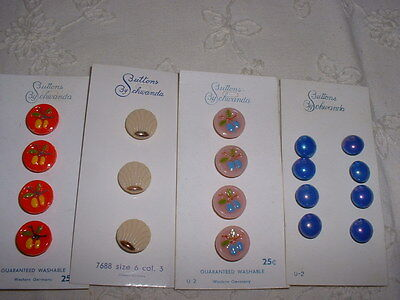 Four (4) Cards of Vintage W German Glass Buttons