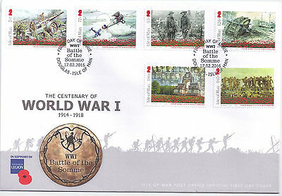 IOM Isle of Man Manx 2016 FDC Commemoratives Centenary of World War I