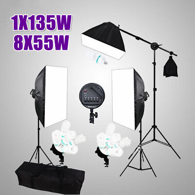 3425W Studio Softbox Continuous Lighting Photography 5 HEAD Soft Box Boom Stand