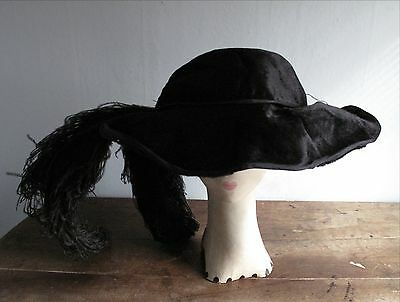 Antique Victorian Edwardian Oversized Black Hat with Plumes