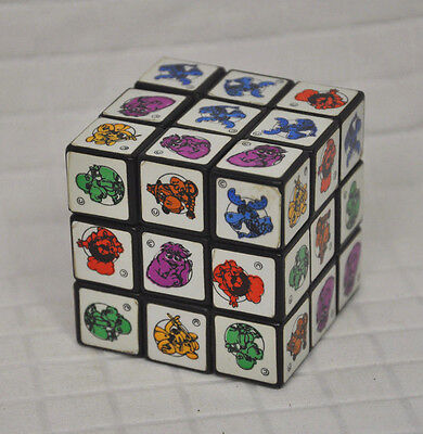 Vtg CHUCK E. CHEESE Rubik's PUZZLE Cube 1980's PRIZE Toy CHARACTER Stickers