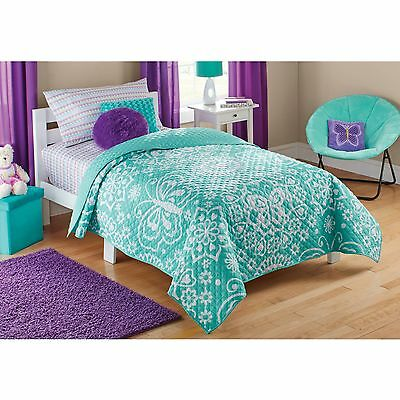 Mainstays Kids Teal Butterfly Quilt new