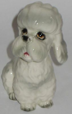 Handpainted LITTLE White w/Grey POODLE Vintage ESD JAPAN Pottery FIGURINE
