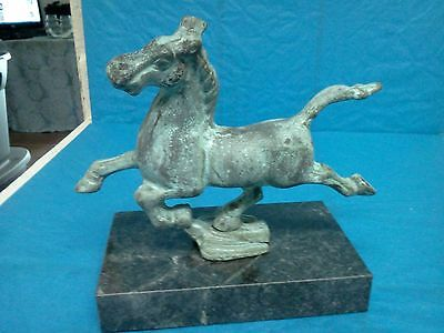 VTG Chinese Bronze Galloping Horse on Marble Stand Asian Art Decoration Patina