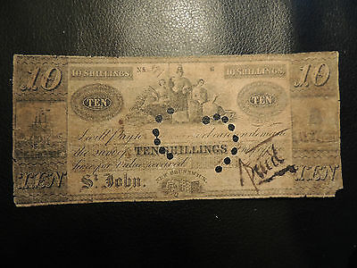 1838 Canada St-John New Brunswick 10 Ten Shillings Cancelled