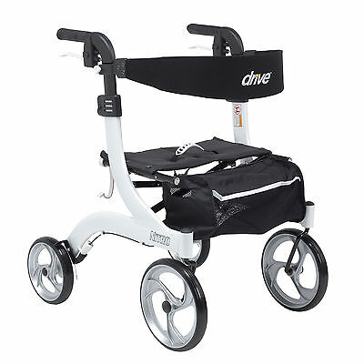 Drive Medical RTL10266WT-H Nitro Euro Style Walker Rollator, Hemi Height, White