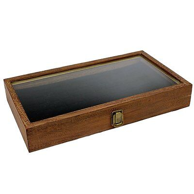 Brown Wood Glass Top Lid Black Pad Display Box Case Medals Awards Jewelry..