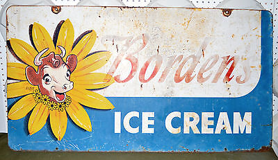 Original Vintage 1950's Borden's Elsie The Cow Double Sided Ice Cream Sign Dairy
