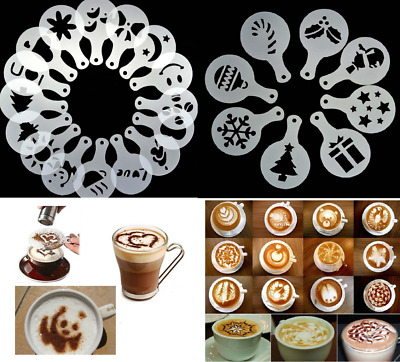 Cappuccino Latte Coffee Stencils Template Strew Flowers Duster Spray Christmas