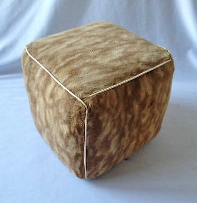 Lovely Vintage C1950's Cubed Faux Fur Small Pouffe - Childs Ottoman - Footrest