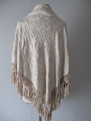 Vintage 1920s Embroidered Silk Piano Shawl - Tassels - Cream