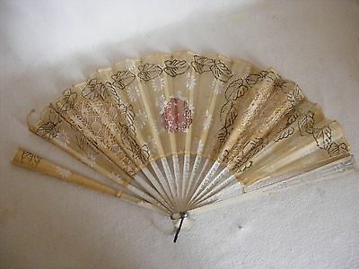 Antique Lace & Translucent Paper Glitter Hand Held Fan