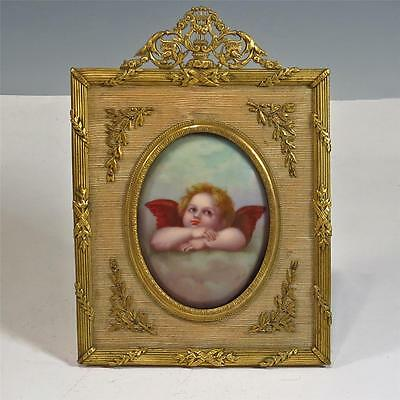 Cherub Porcelain Painting in French Bronze Frame