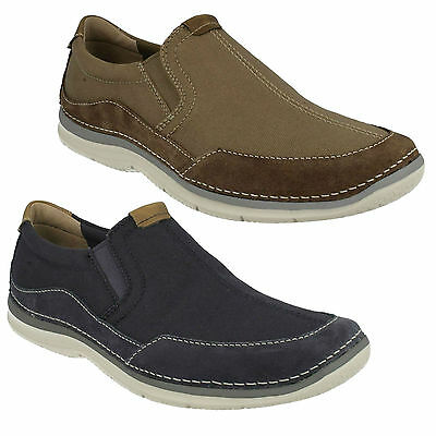 Mens Clarks Ripton Free Canvas Gusset Flat Casual Moccasin Slip On Shoes