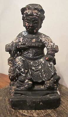 antique 1800's Chinese hand carved wood Qing Dynasty statue figure sculpture old