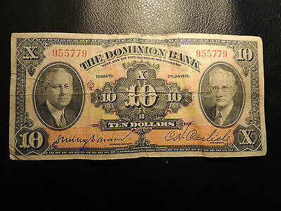 1935 Dominion Bank Canada $ 10 Ten Dollars Fancy Serial Number 955779