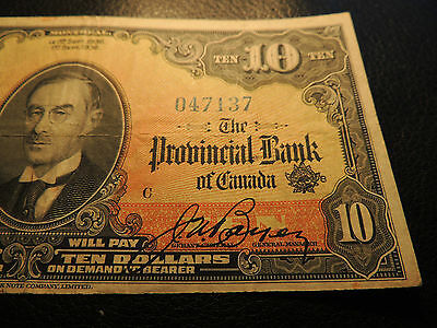 1936 Banque Provinciale Canada $ 10 Ten Dollars 615-18-06 Orange Back 047137