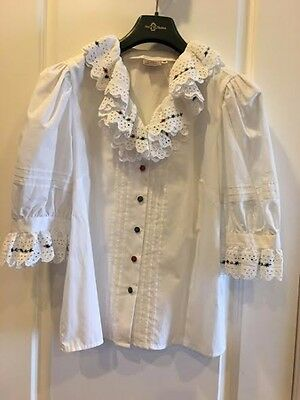 German Dirndle white blouse with Edelweiss flower embroidery European size 42