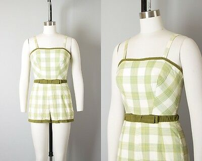 Vintage 1950s Playsuit   50s Green Gingham Plaid Stretchy Cotton Pin Up Romper