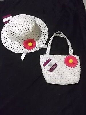 Kids Girls Summer Hats White Easter Bonnet with Flower plus Matching Purse NEW