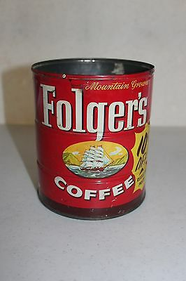Vintage 1959 FOLGERS COFFEE CAN ADVERTISING CLIPPER SHIP 2# Key Wind