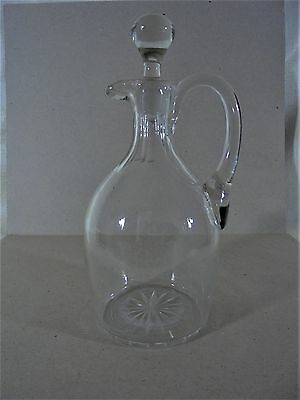 Antique Blown Clear Glass Decanter Original Stopper Applied Handle 1840