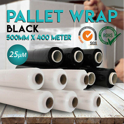 NEW Black/Clear Hand Stretch Film Pallet Wrap Carton Shrink 400m 25UM FREE SHIP
