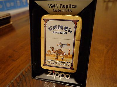 North Carolina Camel State Collectors Pack Brush Brass Zippo Lighter 2010