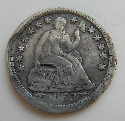1853 Seated Liberty Half Dime Silver ~ 5¢ Coin ~ Fine Details
